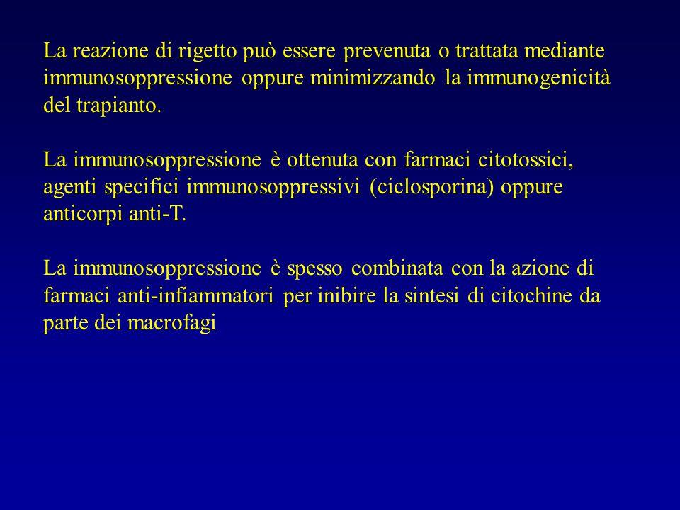 La reazione di rigetto può essere prevenuta o trattata mediante immunosoppressione oppure minimizzando la immunogenicità del trapianto.