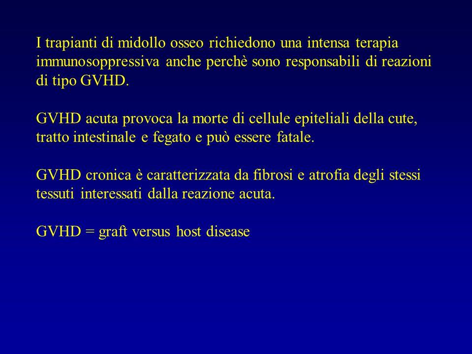 I trapianti di midollo osseo richiedono una intensa terapia immunosoppressiva anche perchè sono responsabili di reazioni di tipo GVHD.
