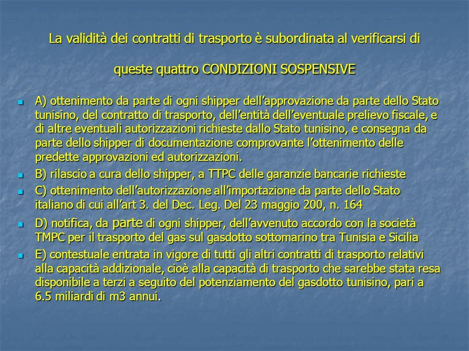 La validità dei contratti di trasporto è subordinata al verificarsi di queste quattro CONDIZIONI SOSPENSIVE