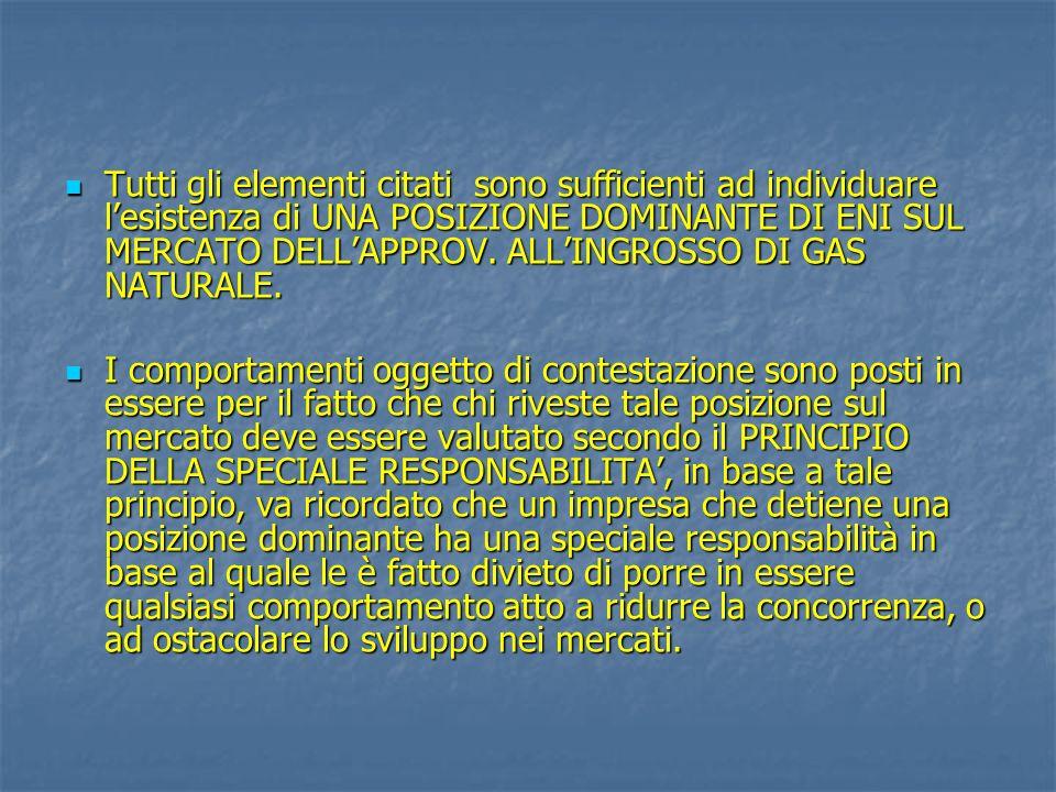 Tutti gli elementi citati sono sufficienti ad individuare l'esistenza di UNA POSIZIONE DOMINANTE DI ENI SUL MERCATO DELL'APPROV. ALL'INGROSSO DI GAS NATURALE.