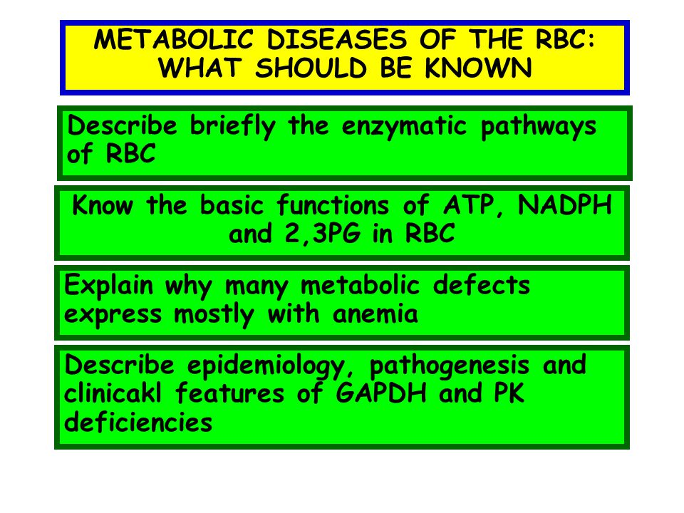 METABOLIC DISEASES OF THE RBC: WHAT SHOULD BE KNOWN