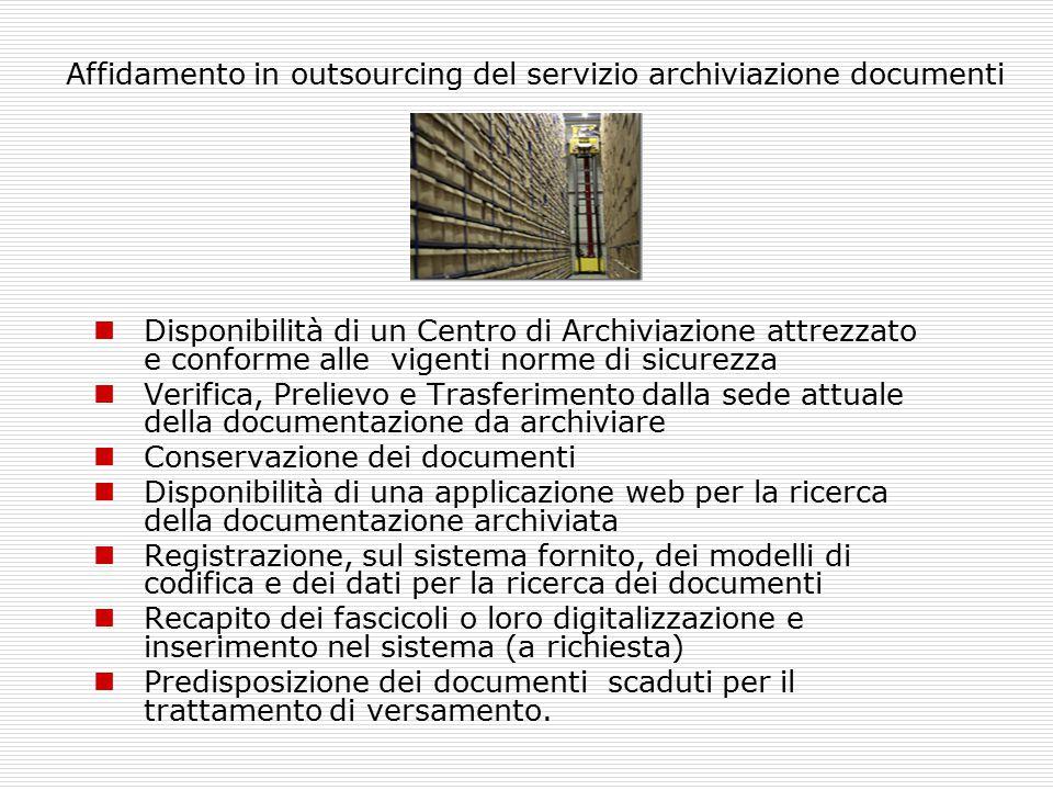 Affidamento in outsourcing del servizio archiviazione documenti