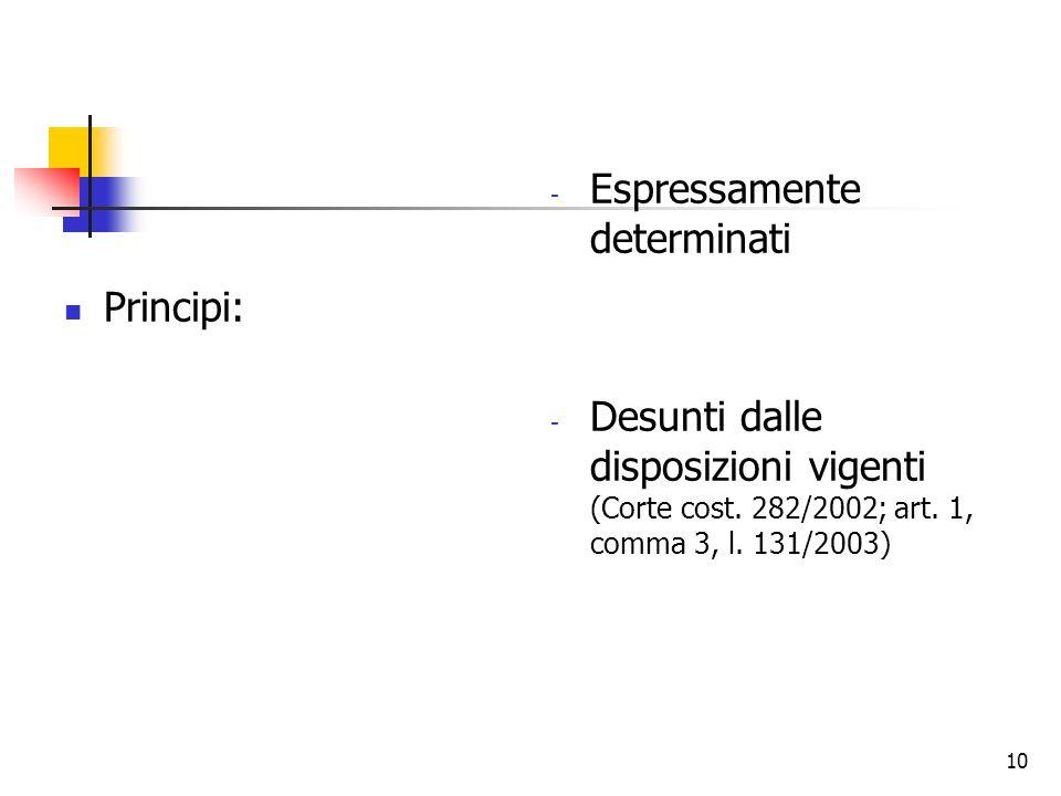 Principi: Espressamente determinati. Desunti dalle disposizioni vigenti (Corte cost.