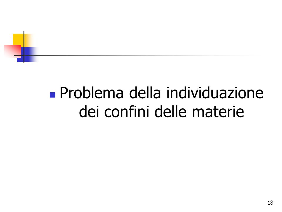 Problema della individuazione dei confini delle materie