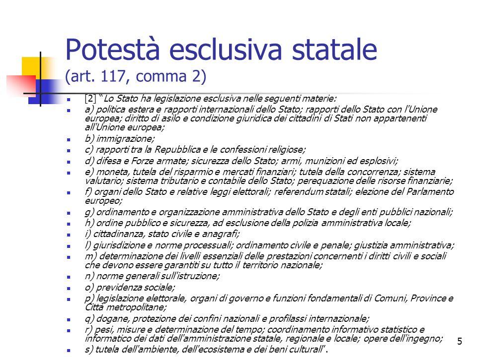 Potestà esclusiva statale (art. 117, comma 2)