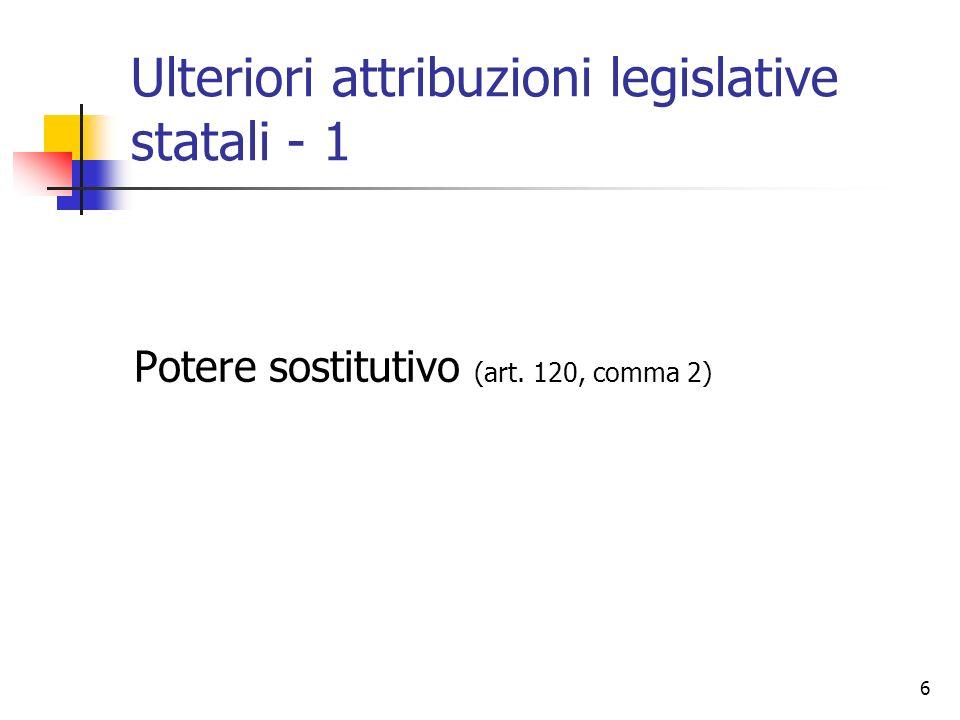 Ulteriori attribuzioni legislative statali - 1