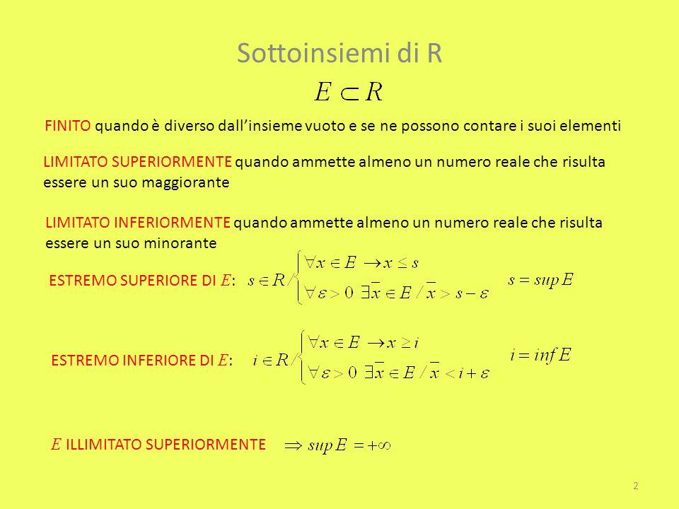 Sottoinsiemi di R FINITO quando è diverso dall'insieme vuoto e se ne possono contare i suoi elementi.