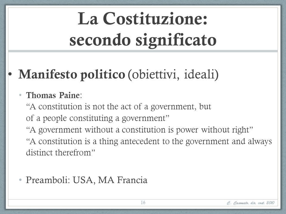 La Costituzione: secondo significato