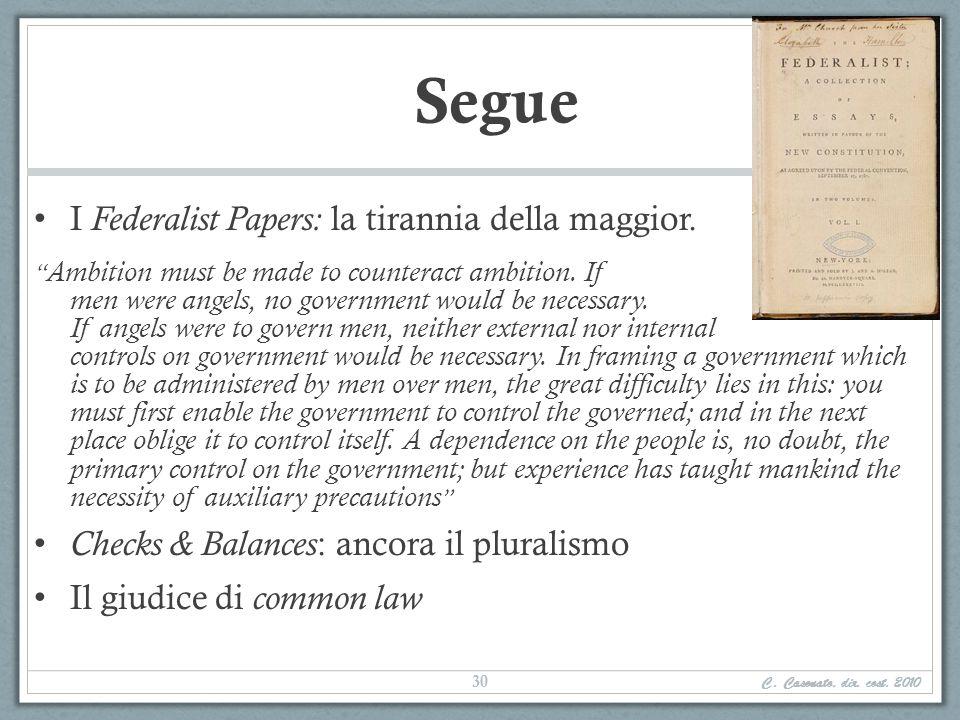 Segue I Federalist Papers: la tirannia della maggior.