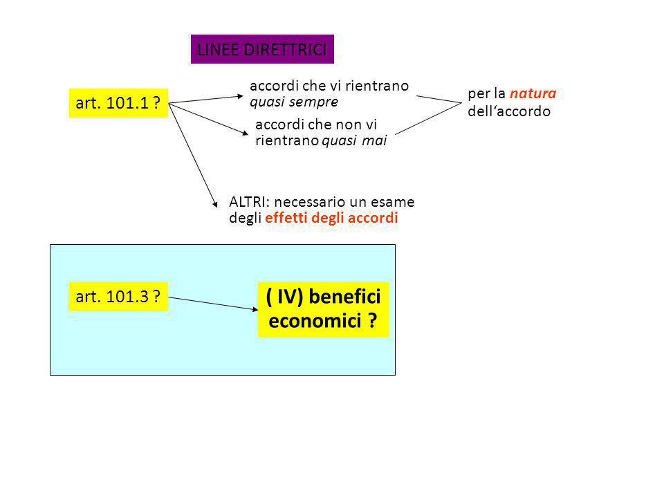 ( IV) benefici economici