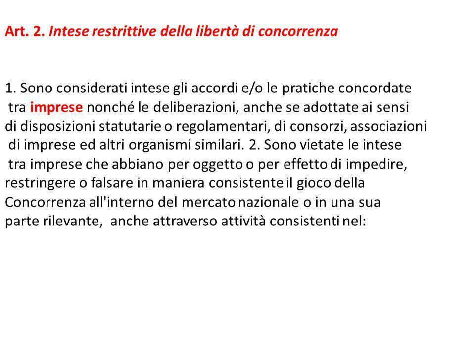 Art. 2. Intese restrittive della libertà di concorrenza