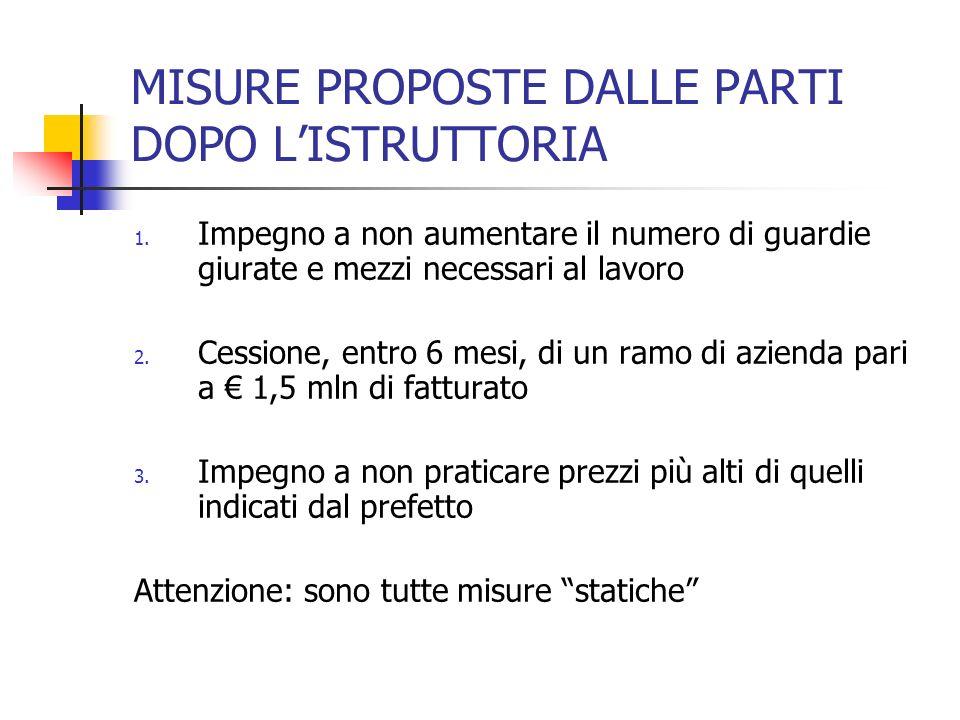 MISURE PROPOSTE DALLE PARTI DOPO L'ISTRUTTORIA
