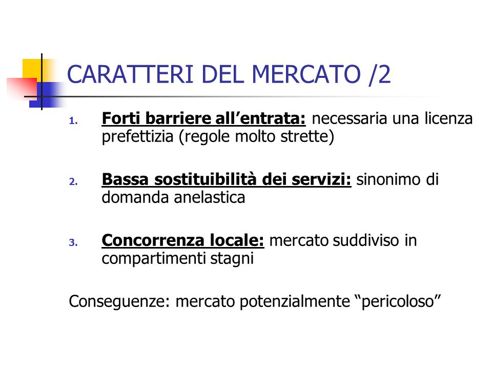 CARATTERI DEL MERCATO /2