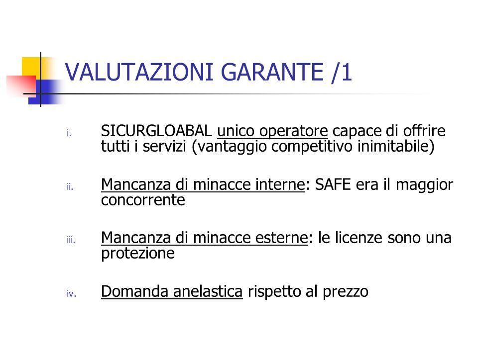 VALUTAZIONI GARANTE /1 SICURGLOABAL unico operatore capace di offrire tutti i servizi (vantaggio competitivo inimitabile)