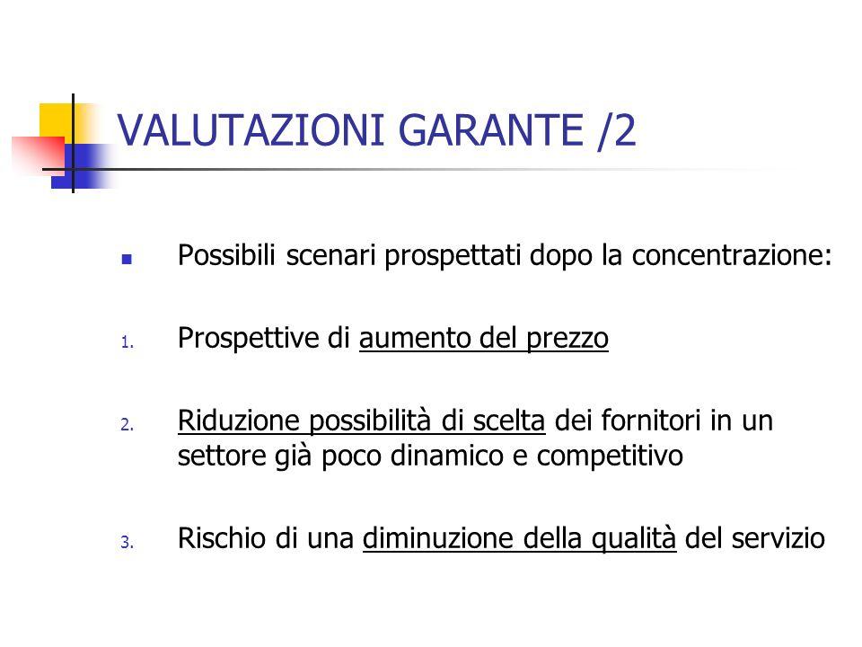 VALUTAZIONI GARANTE /2 Possibili scenari prospettati dopo la concentrazione: Prospettive di aumento del prezzo.