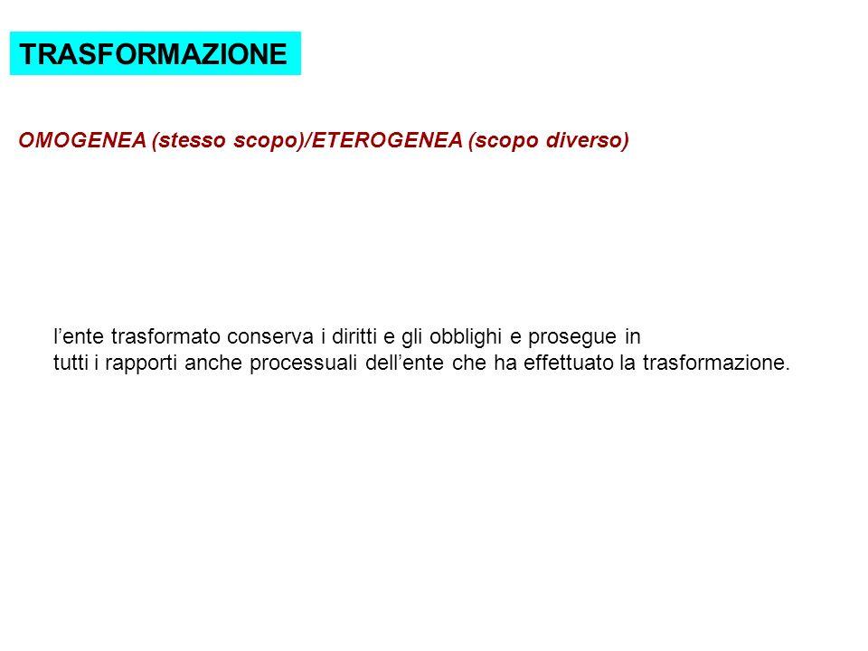 TRASFORMAZIONE OMOGENEA (stesso scopo)/ETEROGENEA (scopo diverso)