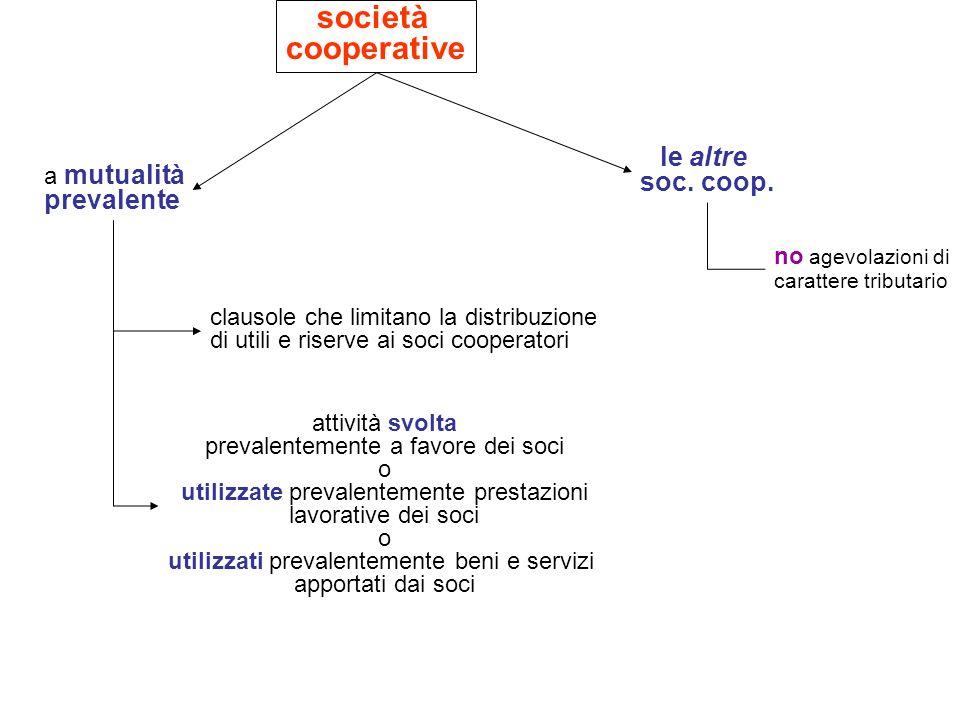 società cooperative le altre soc. coop. a mutualità prevalente