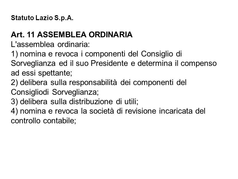 Art. 11 ASSEMBLEA ORDINARIA L assemblea ordinaria: