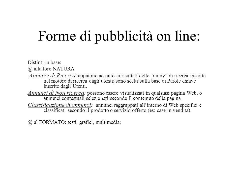 Forme di pubblicità on line:
