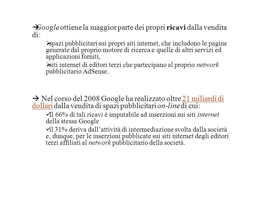 Google ottiene la maggior parte dei propri ricavi dalla vendita di: