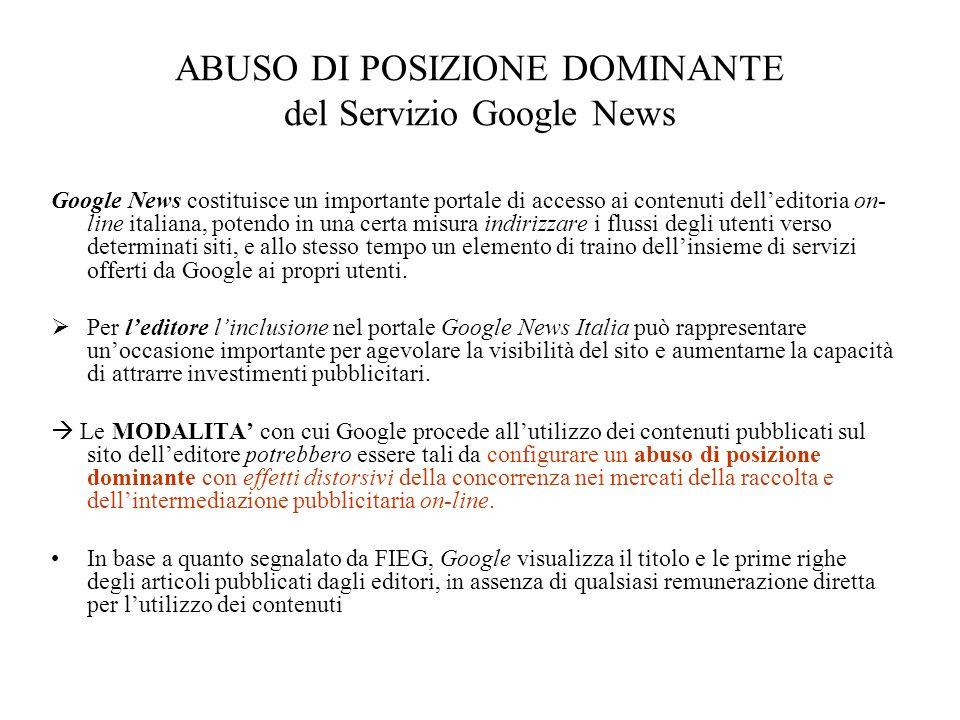 ABUSO DI POSIZIONE DOMINANTE del Servizio Google News
