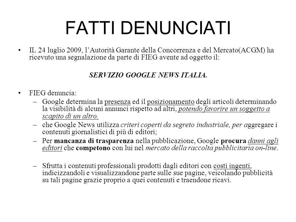 SERVIZIO GOOGLE NEWS ITALIA.