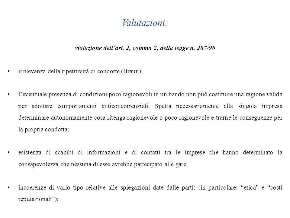 violazione dell'art. 2, comma 2, della legge n. 287/90