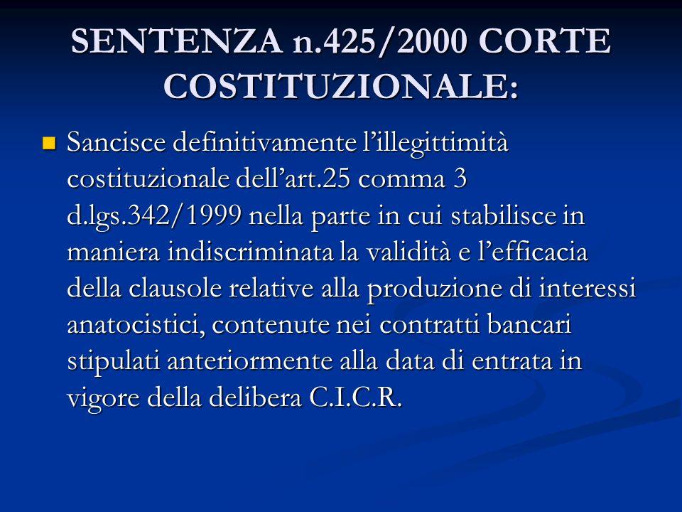 SENTENZA n.425/2000 CORTE COSTITUZIONALE: