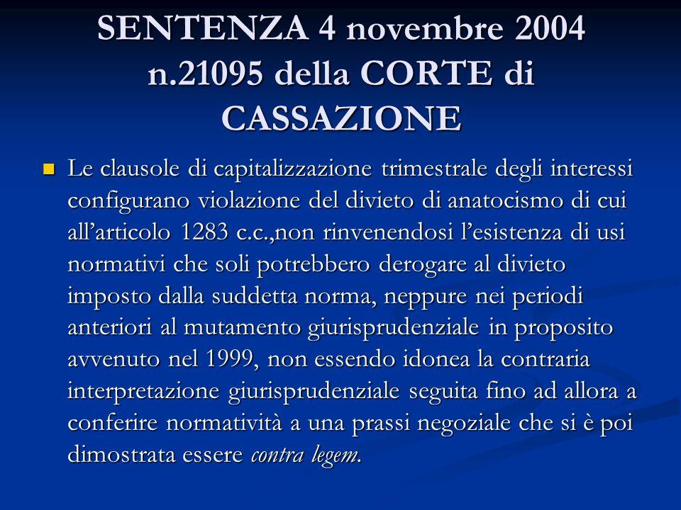 SENTENZA 4 novembre 2004 n.21095 della CORTE di CASSAZIONE