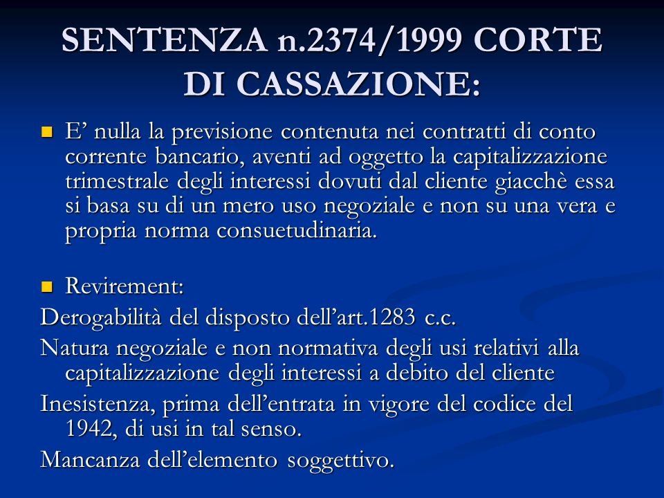 SENTENZA n.2374/1999 CORTE DI CASSAZIONE: