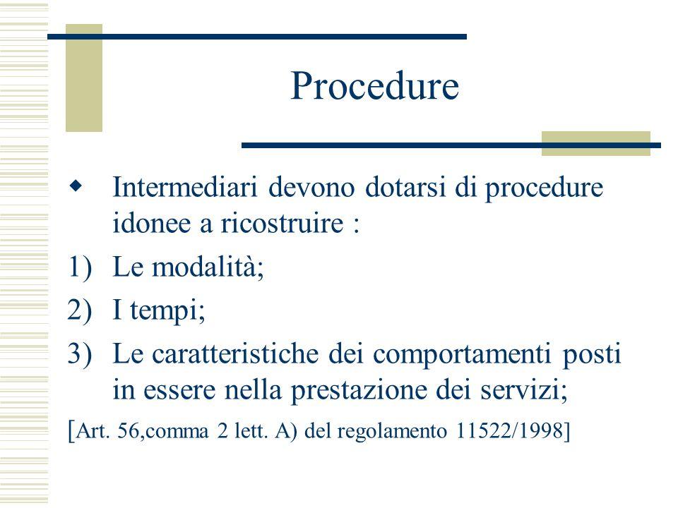 Procedure Intermediari devono dotarsi di procedure idonee a ricostruire : Le modalità; I tempi;