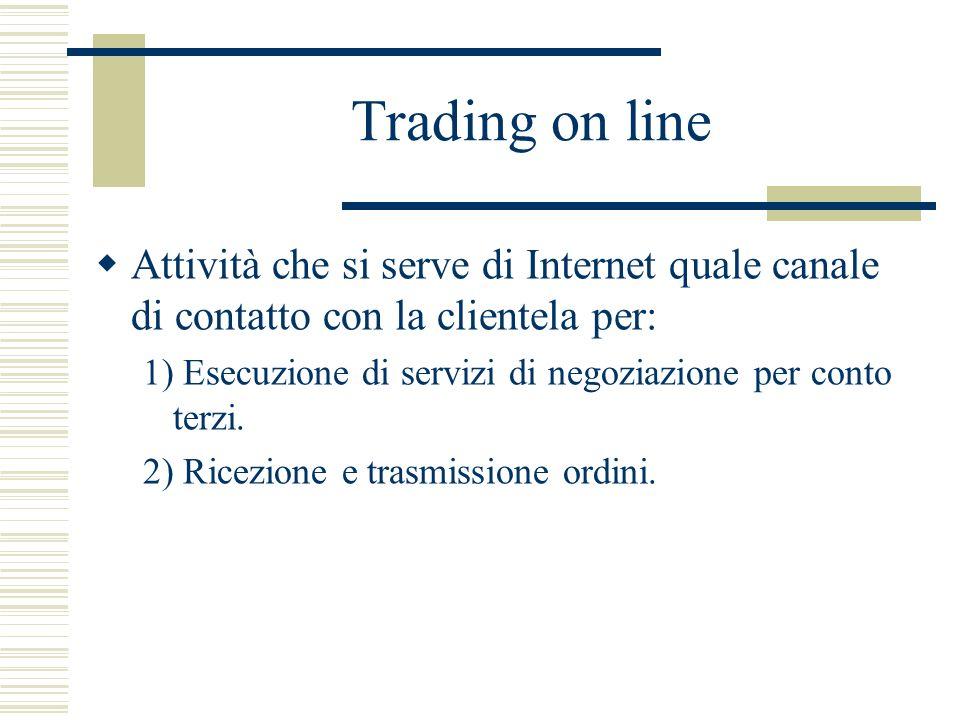 Trading on line Attività che si serve di Internet quale canale di contatto con la clientela per: