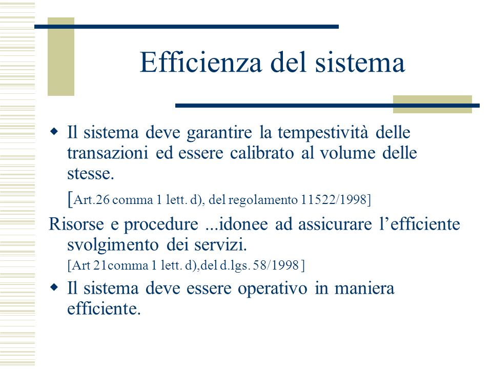 Efficienza del sistema