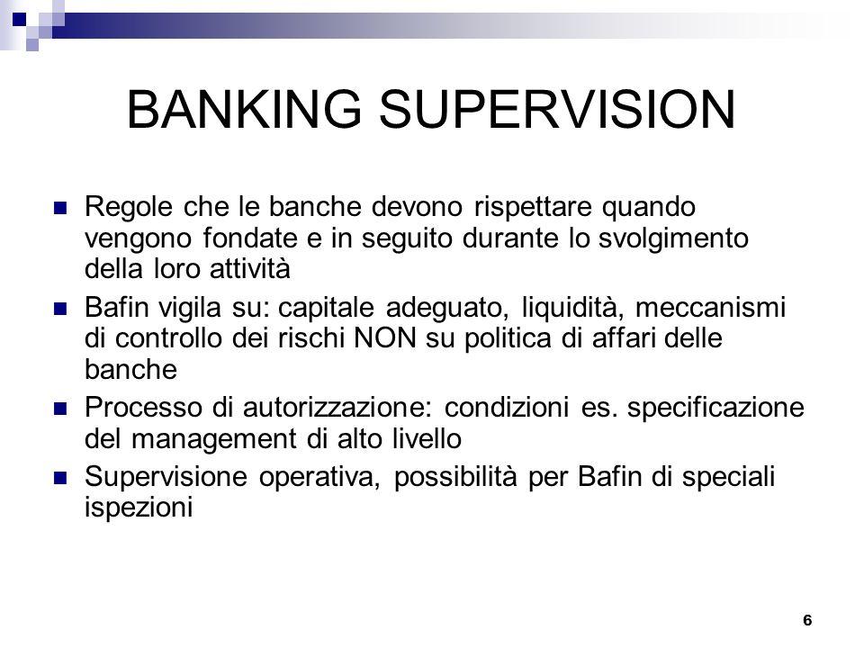 BANKING SUPERVISION Regole che le banche devono rispettare quando vengono fondate e in seguito durante lo svolgimento della loro attività.