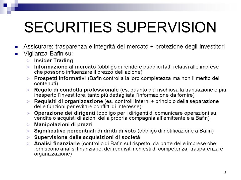 SECURITIES SUPERVISION