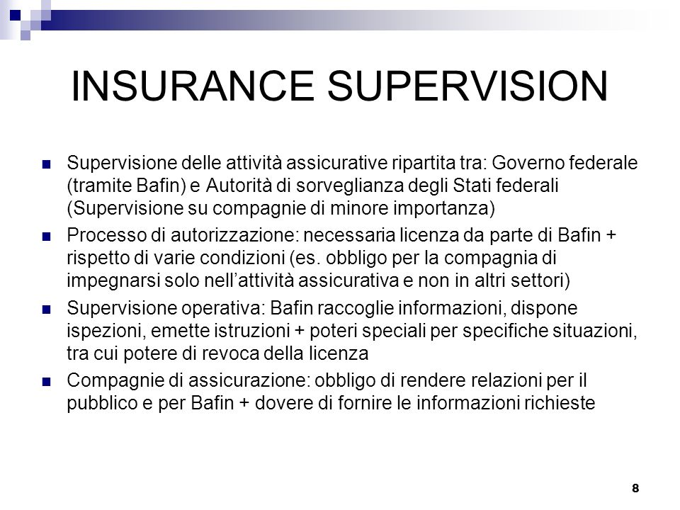 INSURANCE SUPERVISION