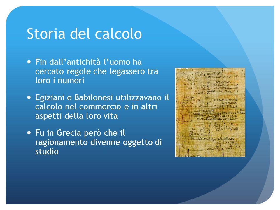 Storia del calcolo Fin dall'antichità l'uomo ha cercato regole che legassero tra loro i numeri.