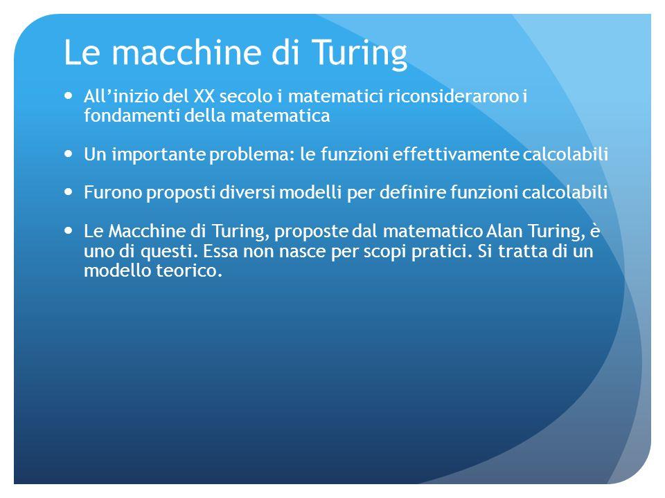 Le macchine di Turing All'inizio del XX secolo i matematici riconsiderarono i fondamenti della matematica.