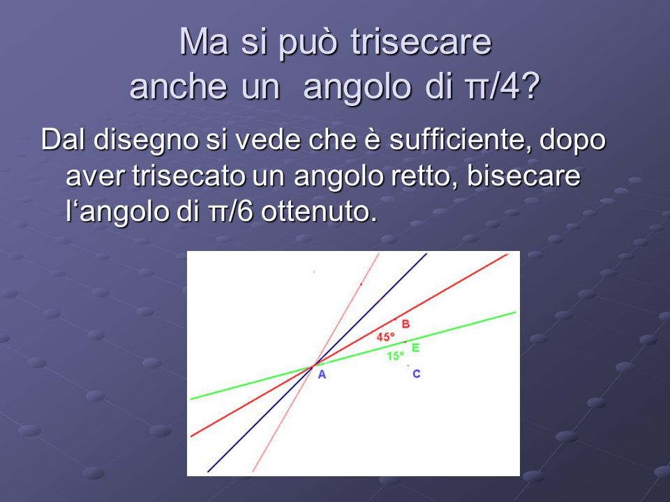 Ma si può trisecare anche un angolo di π/4
