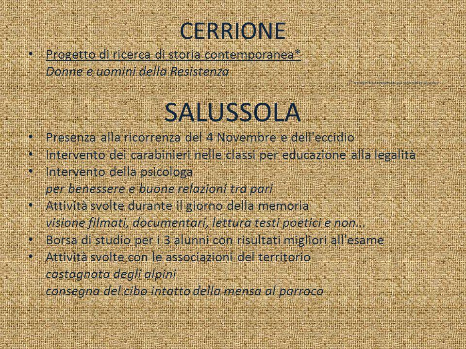 SALUSSOLA CERRIONE Progetto di ricerca di storia contemporanea*