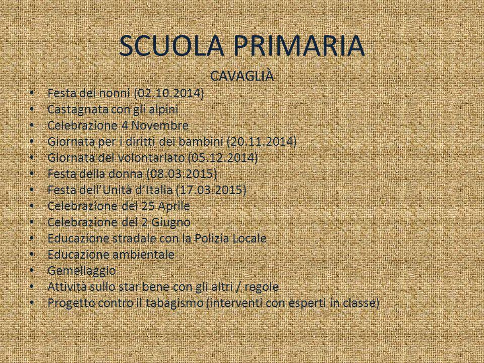 SCUOLA PRIMARIA CAVAGLIÀ Festa dei nonni (02.10.2014)