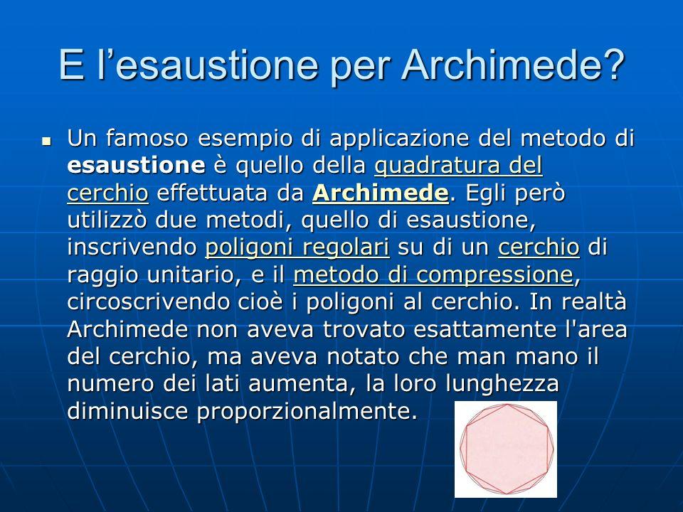 E l'esaustione per Archimede