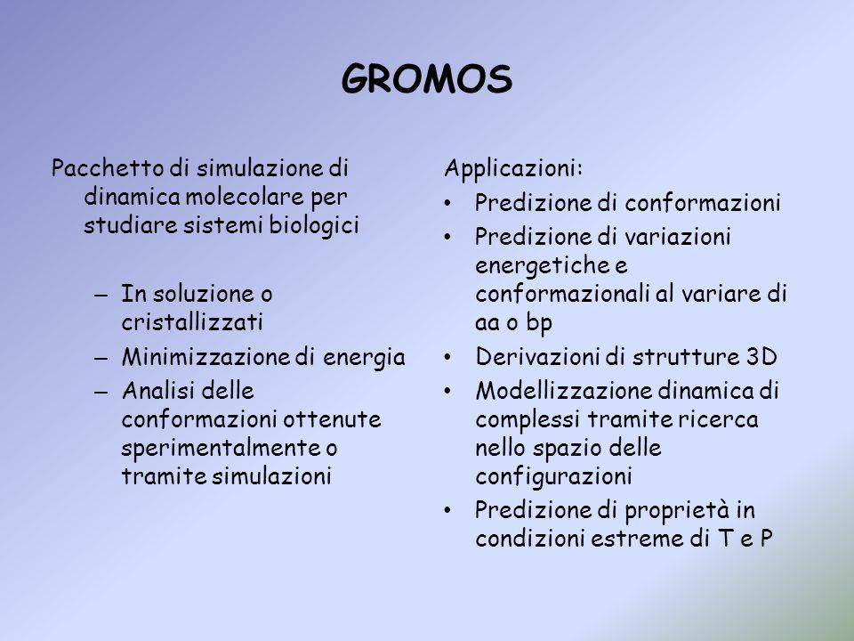 GROMOS Pacchetto di simulazione di dinamica molecolare per studiare sistemi biologici. In soluzione o cristallizzati.