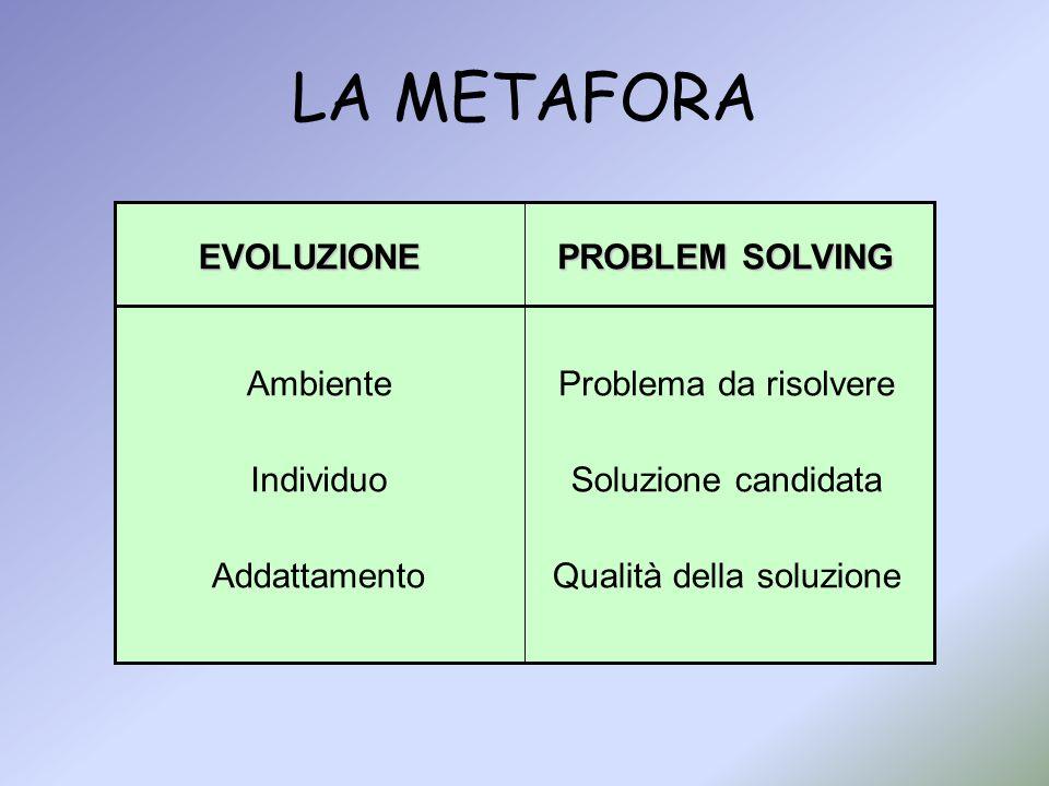 LA METAFORA EVOLUZIONE PROBLEM SOLVING Ambiente Problema da risolvere
