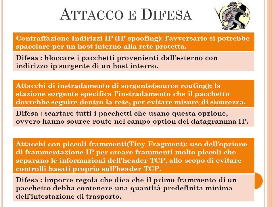 Attacco e Difesa Contraffazione Indirizzi IP (IP spoofing): l'avversario si potrebbe spacciare per un host interno alla rete protetta.