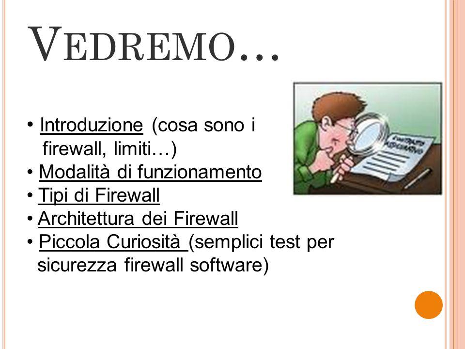 Vedremo… Introduzione (cosa sono i firewall, limiti…)