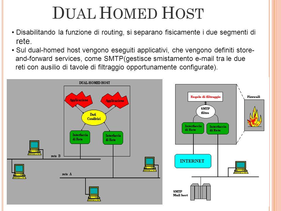 DUAL HOMED HOST Disabilitando la funzione di routing, si separano fisicamente i due segmenti di. rete.