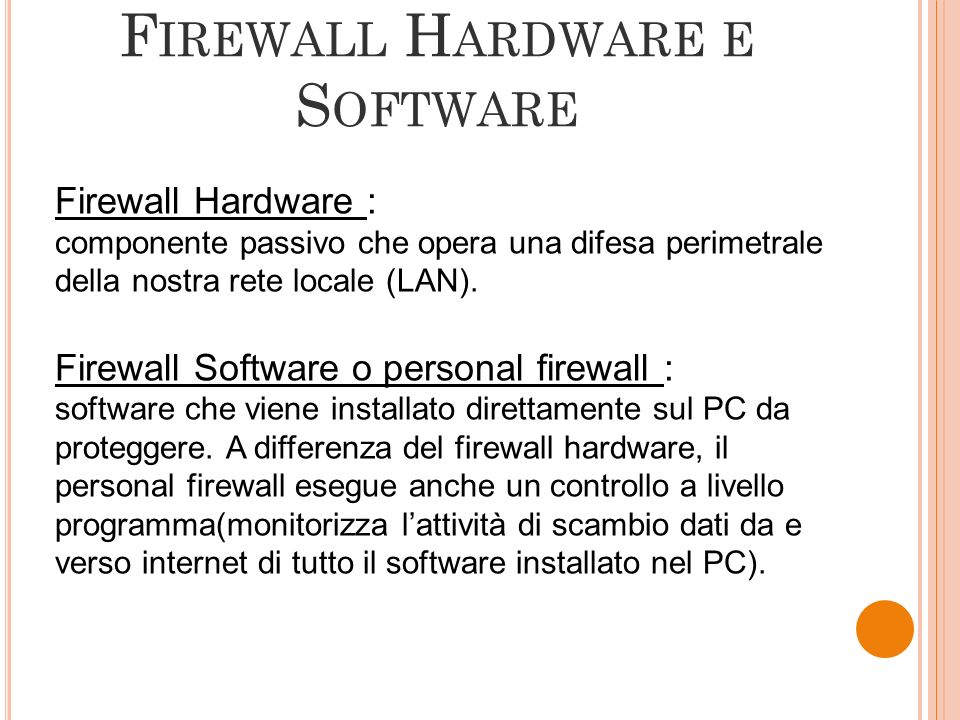 Firewall Hardware e Software