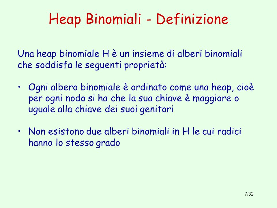 Heap Binomiali - Definizione