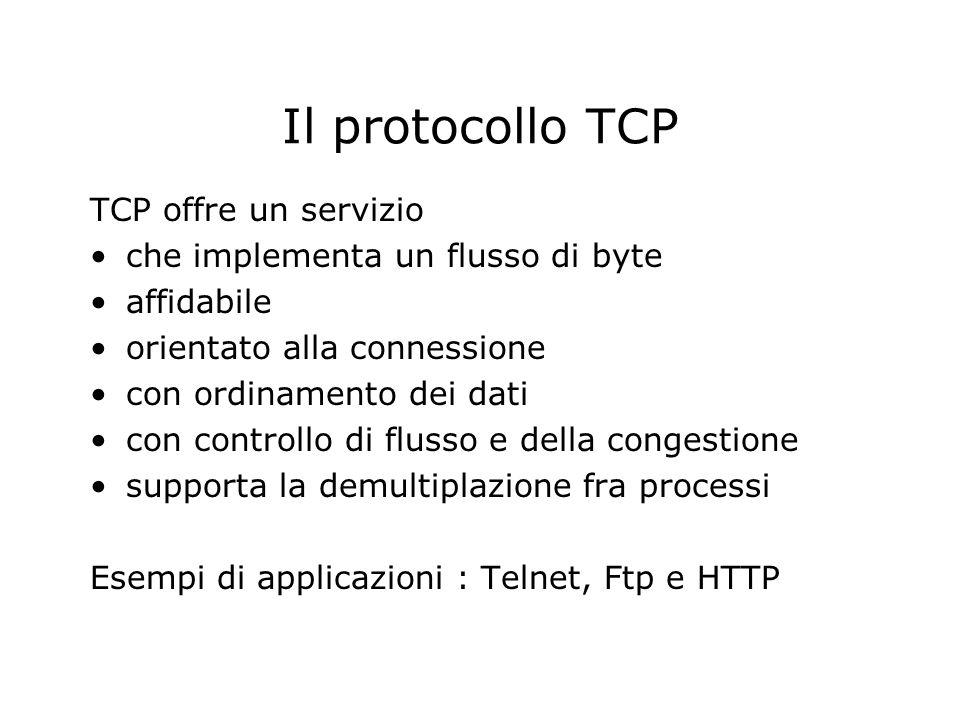 Il protocollo TCP TCP offre un servizio